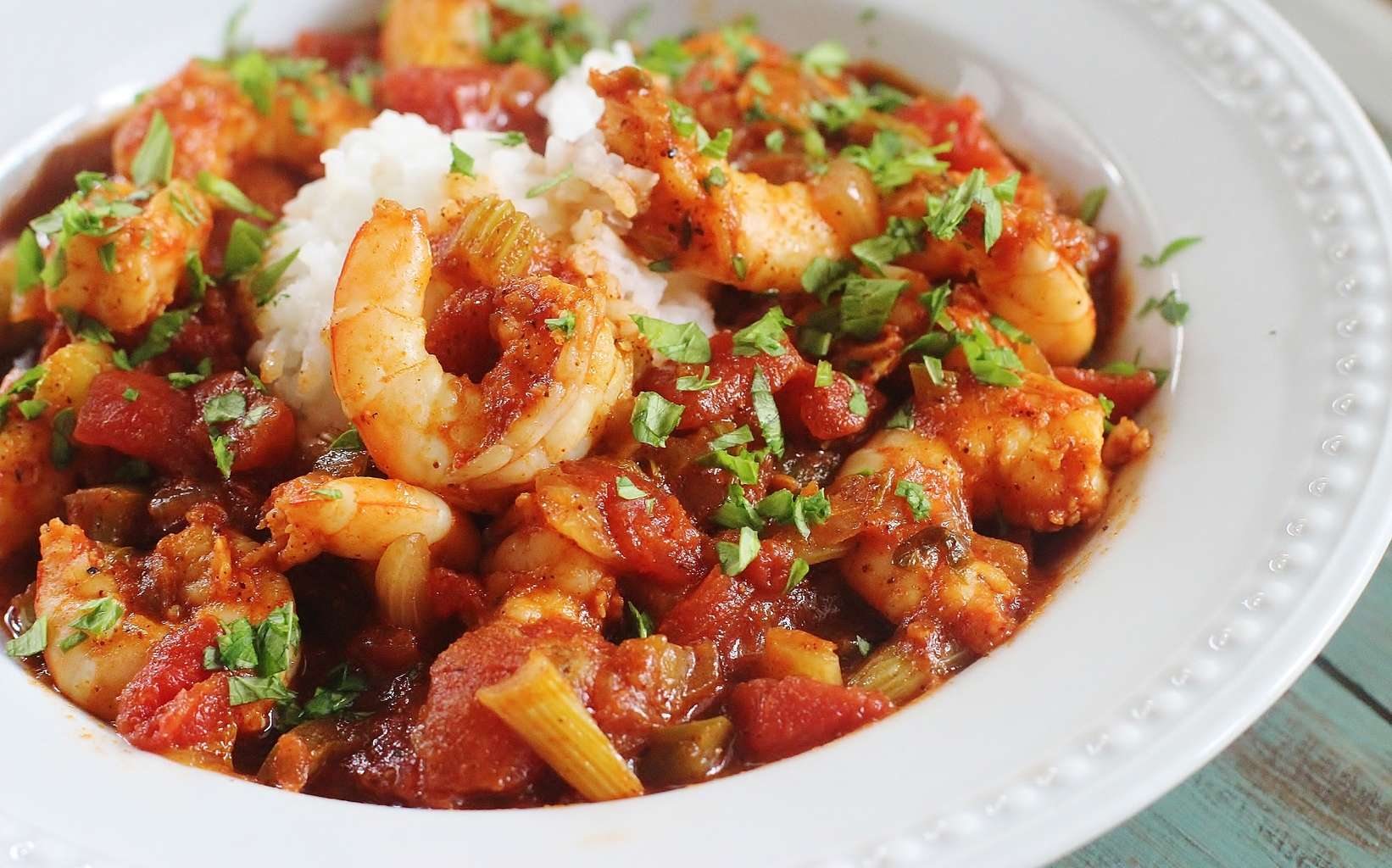 Shrimp Creole. A flavorful dish of shrimp, tomatoes, onions, celery ...