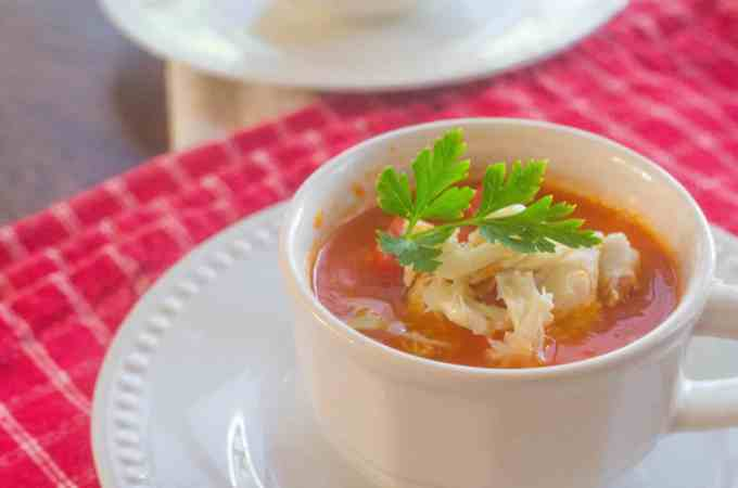 Roasted Red Pepper Tomato Soup with Crab. A twist on a childhood ...