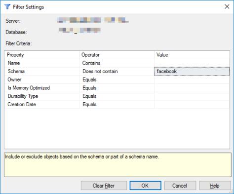 Filter Options Dialog