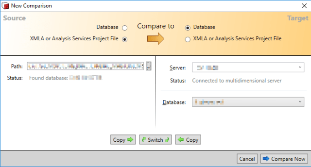 SSAS Compare File to Database