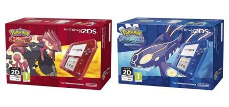 Nintendo 2DS Transparent Red + Pokemon Omega Ruby / Nintendo 2DS Transparent Blue + Pokemon Alpha Sapphire