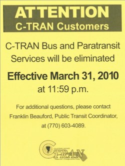 C-Tran Clayton County Transit Service Eliminated
