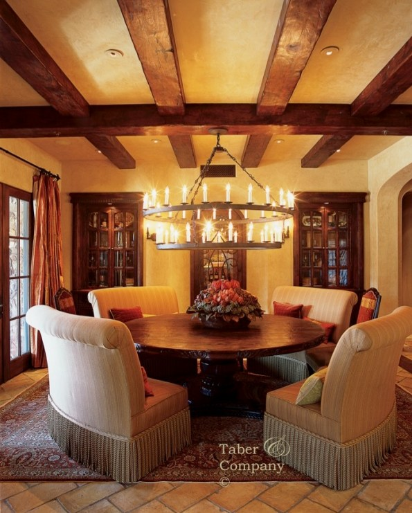 Wood Mediterranean Dinning Room Table, Beams and Built In's From Taber Company