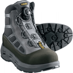 Cabela's Guidewear Men's Boa Wading Boots with Vibram Lug Soles - Black/Silver (8)