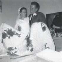 vintage hand painted wedding quilt for hope chest 1959