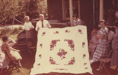 hand painted wedding quilt for hope chest
