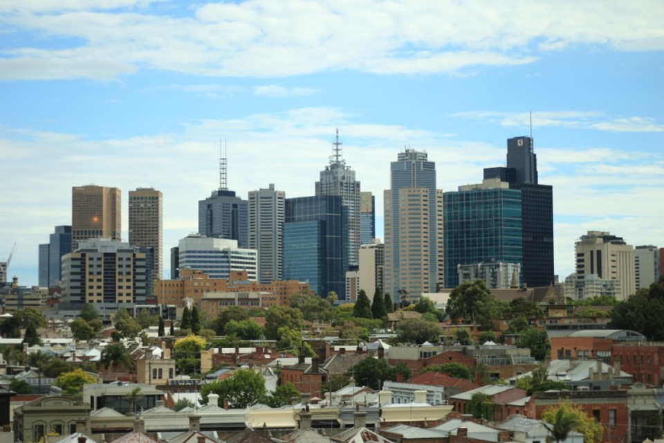 Melbourne city skyline, from the rooftop at Naked for Satan in Fitzroy