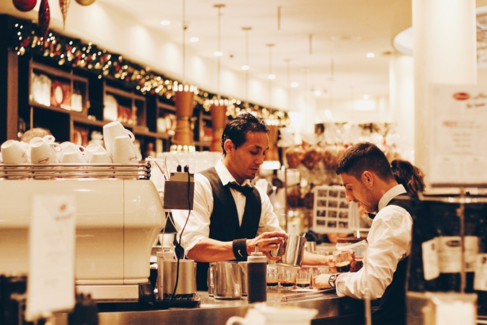 Italian baristas at Brunetti in Lygon Street