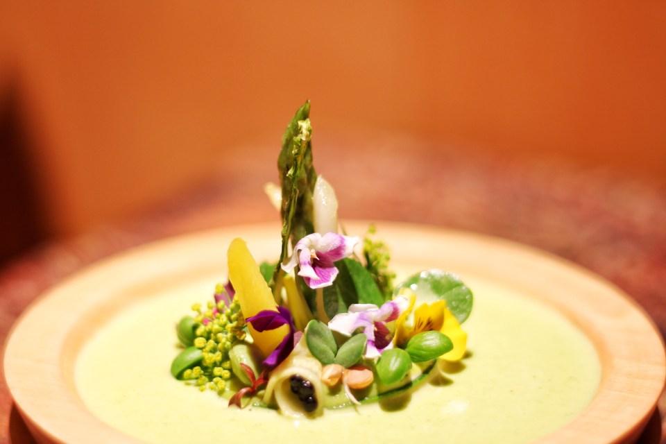 Simply Shoots: Garden Velouté, Fava Bean Mousse, Pea Shoots