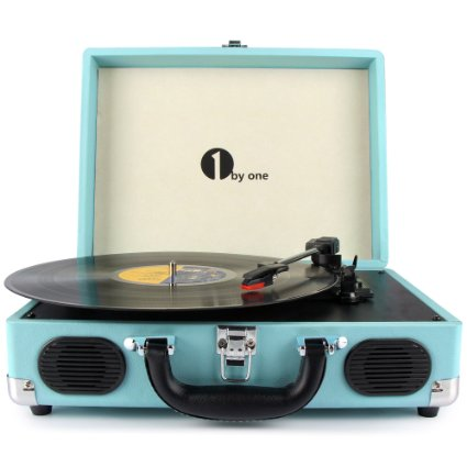 Belt-Drive 3-Speed Portable Stereo Turntable with Built in Speakers