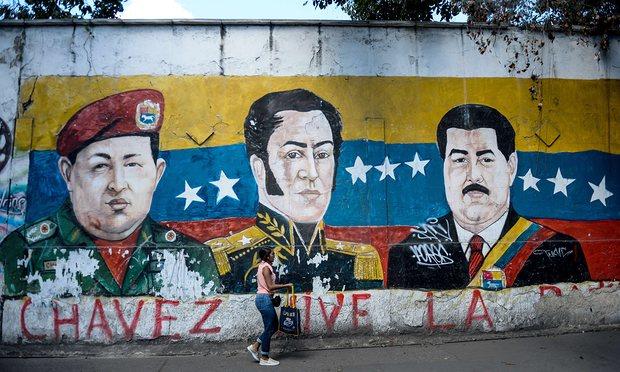 Mural of Cahvez, Bolivar and Maduro