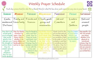 Weekly Prayer Schedule