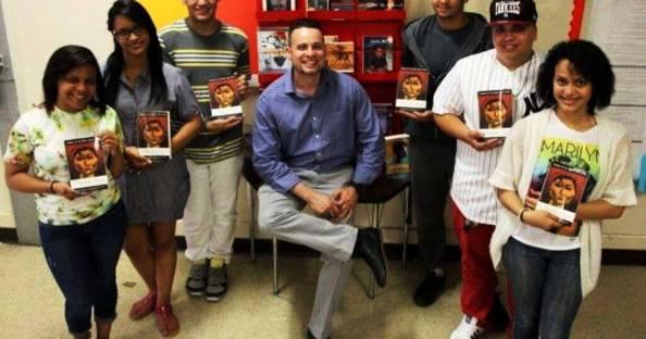 James Monroe teacher Alexci Reyes and his class