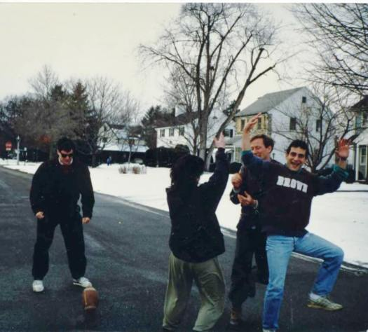 Sometime in the 80s at our annual Holiday street football game. (l-r) Andre Marquis, Steve Shapiro, Phil Ghyzel, David Kramer. [Photo: Dean Tucker]