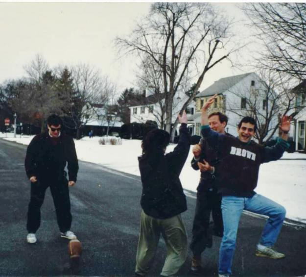 Sometime in the 80s at our annual Holiday street football game. (l-r) Andre Marquis, Steve Shapiro, Phil Ghyzel, David Kramer.