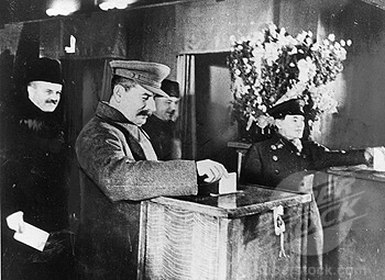 'Stalin casts his vote in first Soviet election', 17 December 1937.