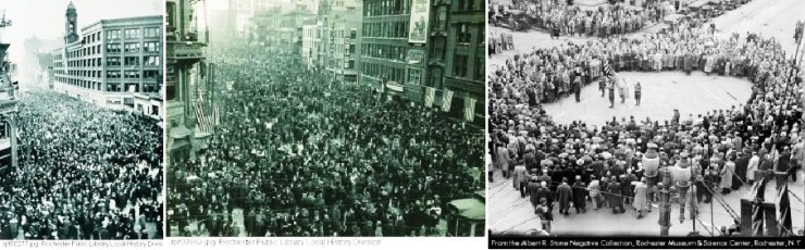 (L-R) Armistice Day, 1918, State St., Armistice Day, 1918, Main St., Armistice Day, 1930, Four Corners, Listening to Taps. From Facts About Rochester Veterans