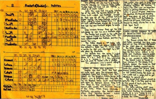 Remaining shards from the International Wiffle Ball League. (left) part of the 2nd edition of the Weekly Wiffle News; (right) The box score form Game of the IWBL World Series played at Kramer Coliseum, October 17,1976. See Iconic America at the Brighton Little League Parade