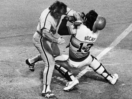 Pete Rose Runs Over Astros' Catcher Bruce Bochy in Game 4 of the 1980 NLCS.