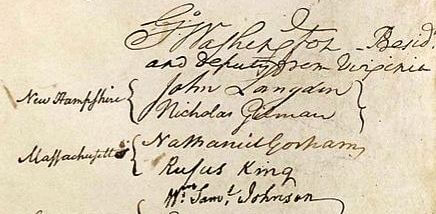 Gorham's signature on the Constitution