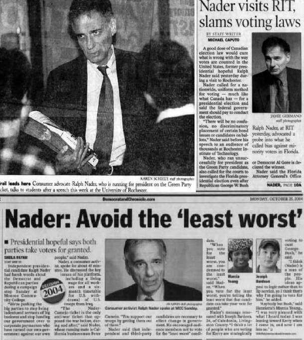 Rochester Democrat and Chronicle (top left) Ralph Nader at the University of Rochester, 11/01/96 (top right) Nader at the Rochester Institute of Technology, 12/08/00 (bottom) Nader at Monroe Community College, 10/25/04