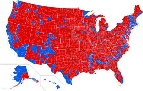 2016 Presidential election. Results by county. Red denotes counties that went to Trump; blue denotes counties that went to Clinton. (Wikipedia)