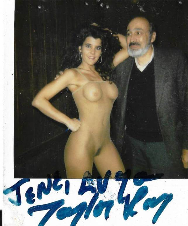 My father, Eugene Kramer, was there too. (Taylor Ray, left, Eugene, right). Technically wearing a body suit, Taylor is not nude under NYS law. The now defunct Half Dollar, Rochester, NY, January 1991