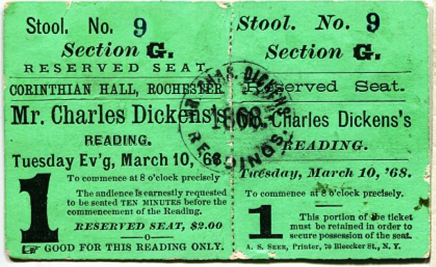 Dickens Rochester Reading Admission Ticket - from Rochester Historical Society
