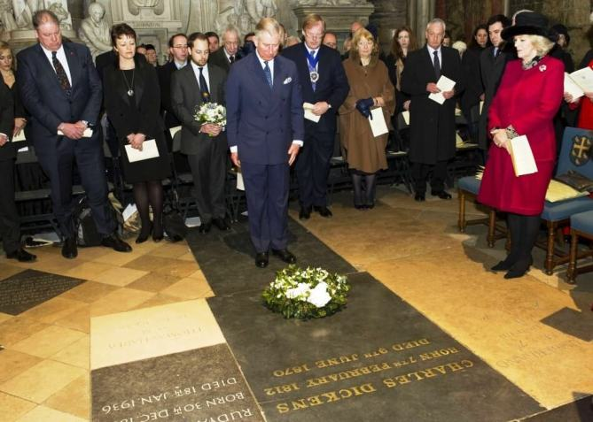 Prince Charles lays a Wreath on Grave of Charles Dickens