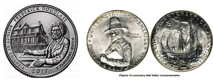 (left) Frederick Douglass National Historic Site Quarter America the Beautiful Quarters Issued in 2017 2017 America the Beautiful Quarters Coin Frederick Douglass District of Columbia Uncirculated Reverse 2017 America the Beautiful Quarters Coin Uncirculated Obverse Depicts Frederick Douglass seated at a writing desk with his home in Washington, DC, in the background.