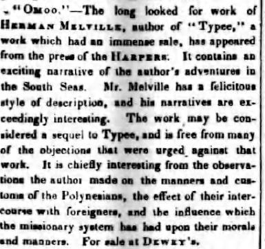 Rochester Daily Democrat (Rochester, New York) - May 12, 1847 (melvilliana.blogspot.com).
