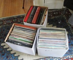 Just a few boxes from Eugene's voluminous collection to be displayed at Bop Shop Records.