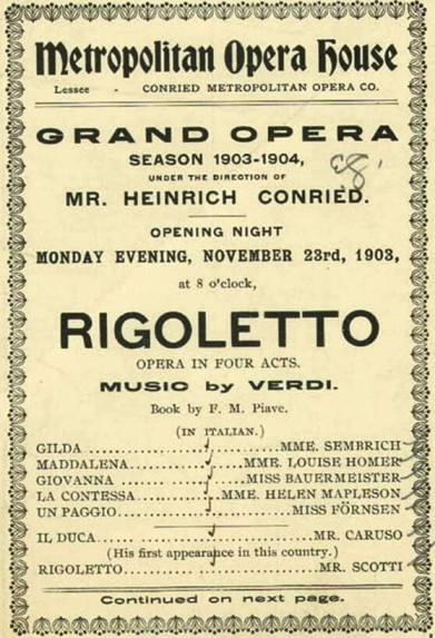 Caruso's first appearence at the Met