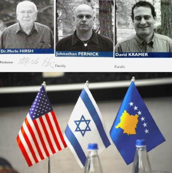 (top) The RIT-AUK representatives at the 2008 Yom Ha'atzmaut Celebration (Israel's 60th Independence Day), 7 May; Dr. Merle Hersh, Johnathon Pernick, Dr. David Kramer (below) Flags of the United States, Israel and Kosovo on display in the Prishtinë office of Kosovo's prime minister, Ramush Haradinaj. (Larry Luxner, 2019)