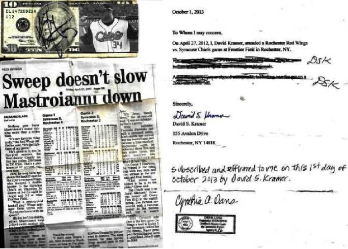 (left) Bryce Harper's autograph, April 26th, 2012, Frontier Field, Rochester, NY and clipping from the Democrat and Chronicle, April 27th (right) notarized statement
