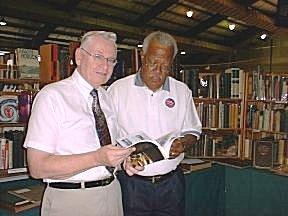 At the 31st Annual Rochester Antiquarian Book Fair Rochester Mayor Bill Johnson (right) and Society member, local historian and author Donovan Shilling. Johnson was a guest speaker several times.
