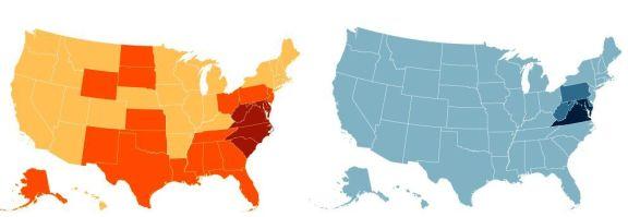 (left) popularity of the Washington Redskins (NFL) (right) popularity of the Washington Nationals (MLB)