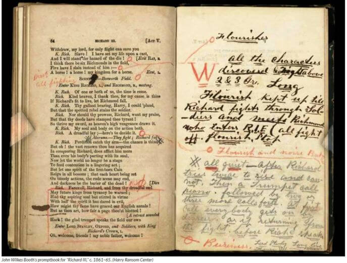 Photo of Booth's prompt-book-for-Richard III-with his handwritten notes