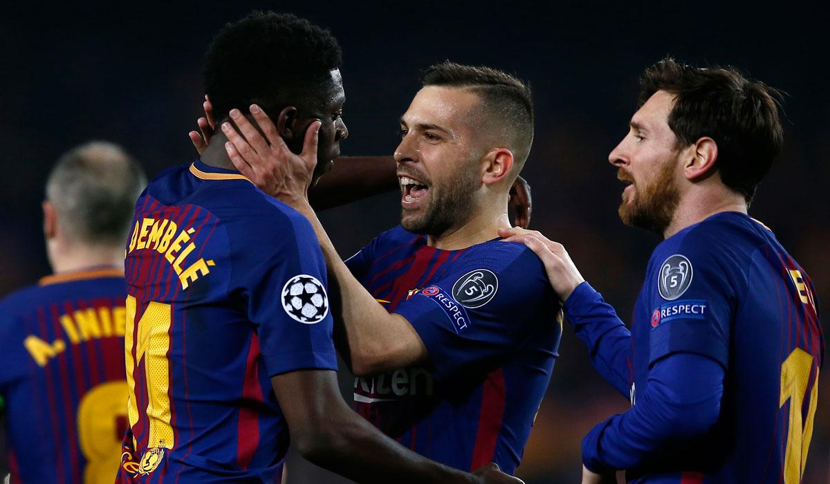Dembelé gritó su primer gol con la camiseta del Barça