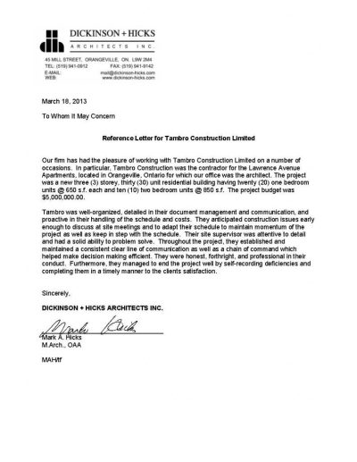 Reference Letters   Tambro Construction