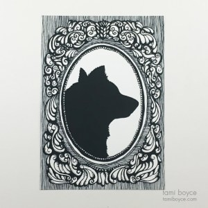 Dog (or Wolf) Silhouette, Cameo Series