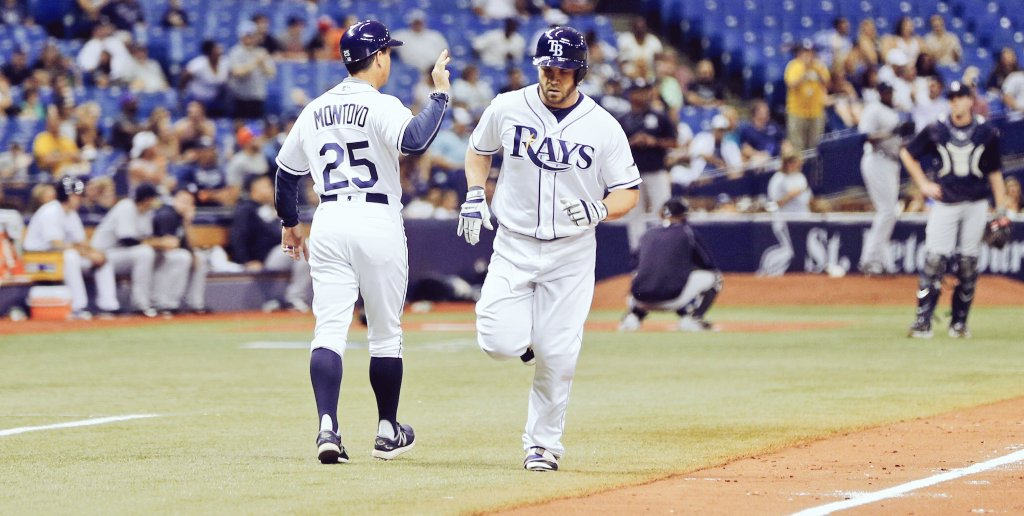 Steve Pearce worked a 10-pitch at-bat before giving the Rays their only run of the game on a solo shot into the left-center seats. (Photo Credit: Tampa Bay Rays)