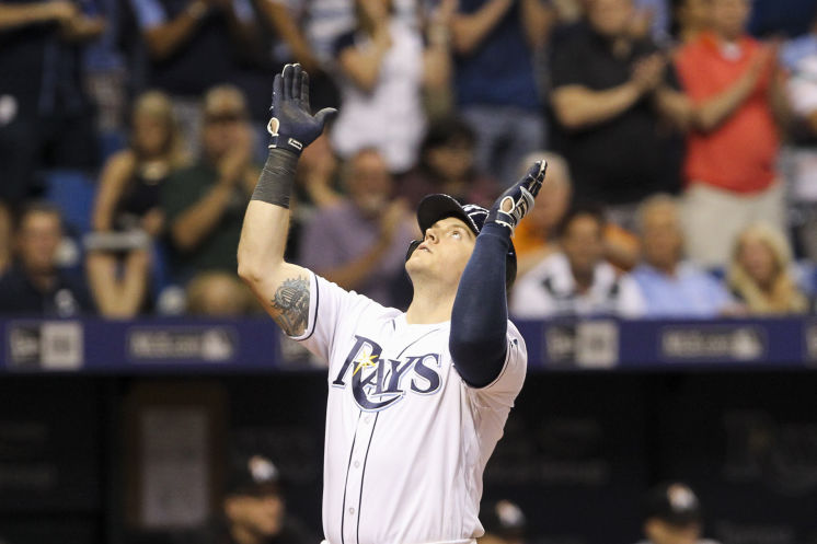 Logan Morrison celebrates a two-run homer in the sixth inning on Wednesday. (Photo Credit: Will Vragovic/Tampa Bay Times)