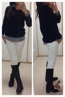 ギンガムチェックシャツ(ユニクロ)×カシミアセーター(ユニクロ)×パンツ×パンプスorブーツ1