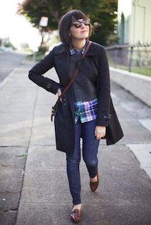 シャツ×セーター×ジーンズ×靴×黒トレンチコート
