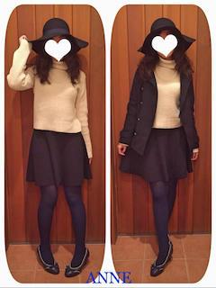 ネイビーのPコート×白のタートルネック×フレアスカート