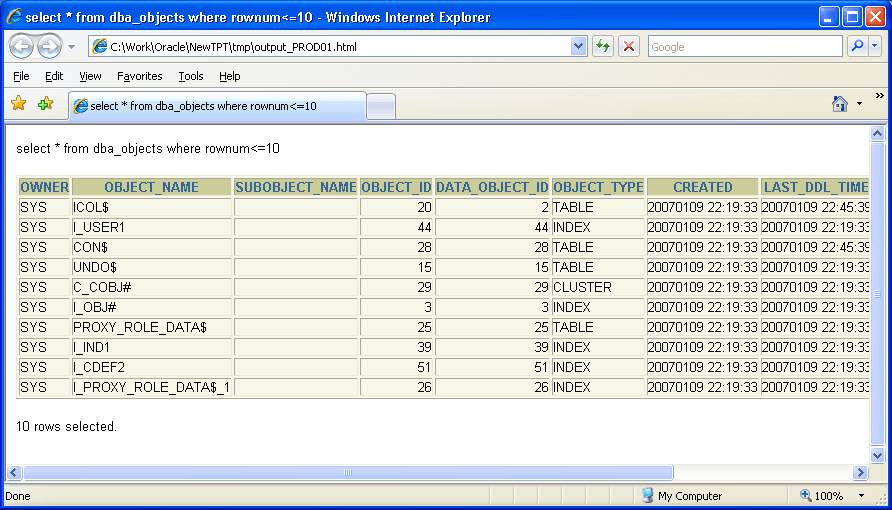 Output of a SQL statment passed to htmlrun.sql as parameter