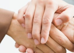 Three people shaking hands --- Image by © Somos Images/Corbis