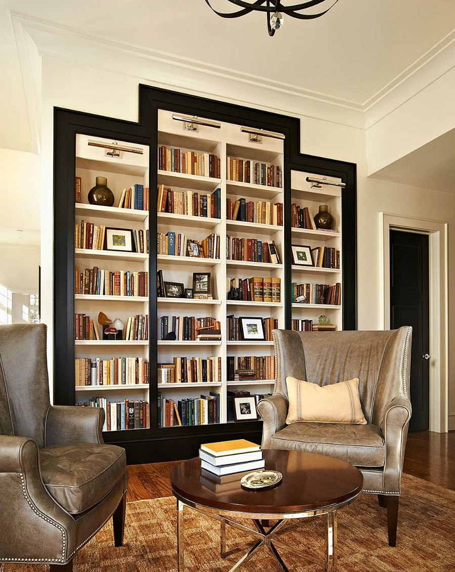 First Home Library Design Filled Full Length Bookshelves Accent Chairs Round Side Table Home Library Design Filled Full Length Bookshelves And furniture Home Library Chairs