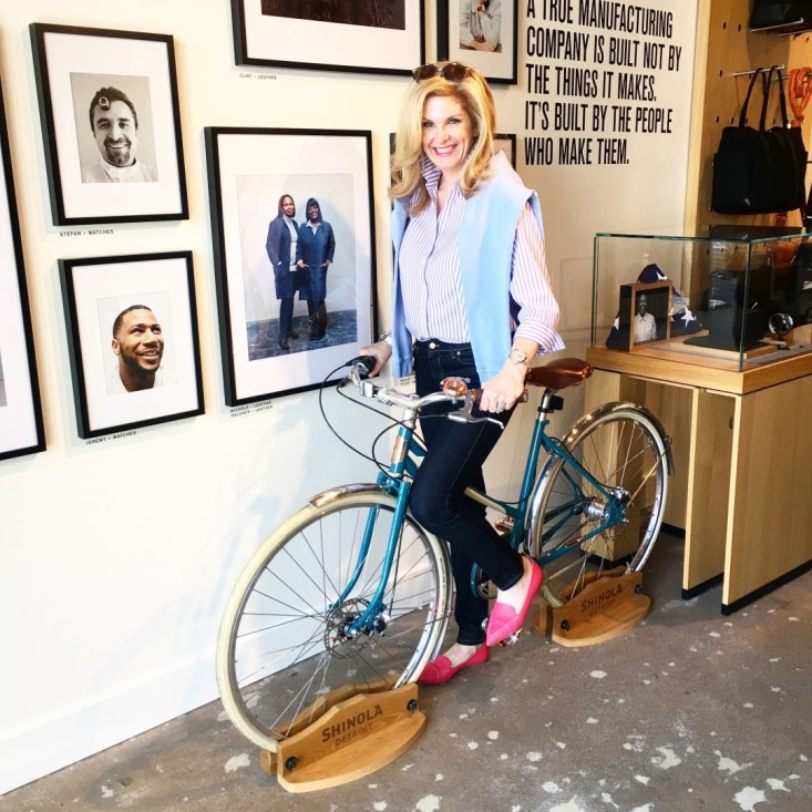 Shinola watch, Talbots top, AG jeans, Highland Park Village store event, Tanya Foster